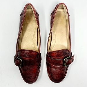 Frye Red Leather Buckle Bud Loafer Flats